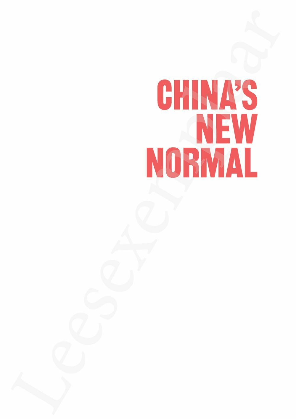 Preview: China's New Normal (English edition)